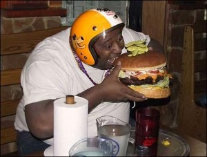 "Competitive Eater ""Badlands"" Booker is never embarrassed about Eating big! Love the helmet, he's gonna need it for that burger!"